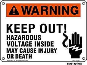 Everlast Sign, 10x14 in, WARNING Keep Out Hazardous Voltage Inside May Cause Injury..w/hand