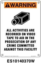 Everlast Sign, 10x14 in, Warning All Activities Are Recorded On Video ...w/picto or/wh/bk