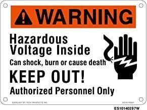 Everlast Sign, 10x14 in, Warning Hazardous volt Keep out w/hand pict bk/w/o