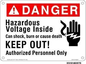 Everlast Sign, 10x14 in, Danger Hazardous volt Keep out w/hand pict